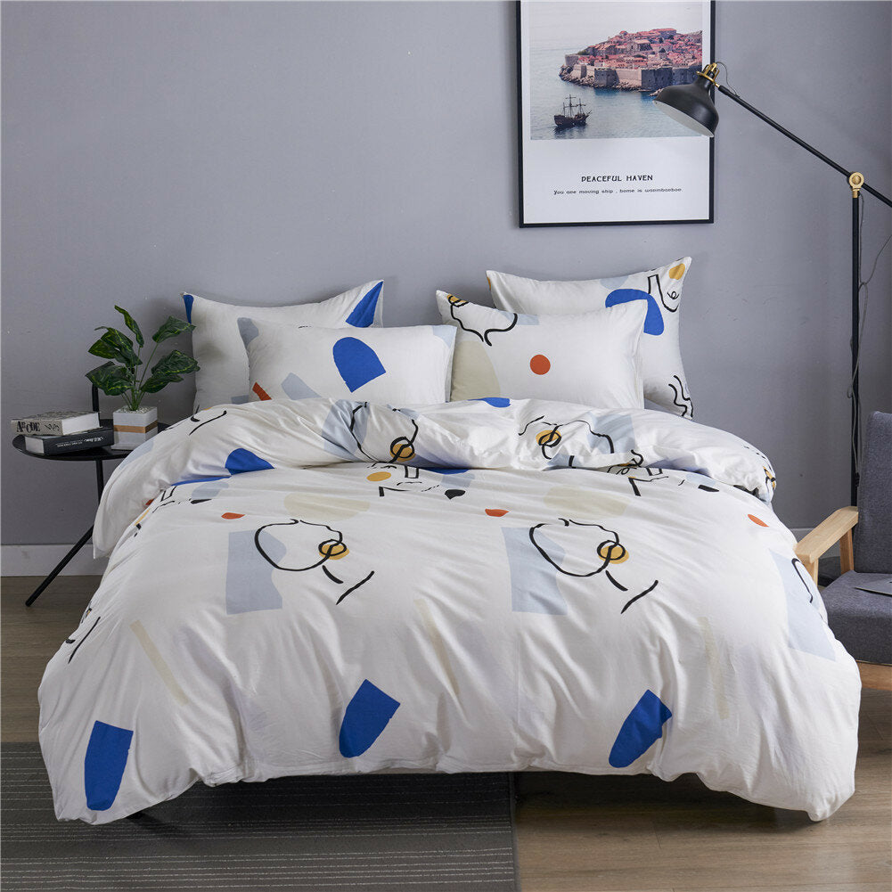 100% Cotton Quilt Three-Piece Home Textile Kit Duvet Cover Bedding Cotton Kit Bedding