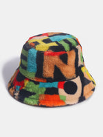 Women & Men Rabbit Fur Contrast Color Number Printing Casual Outdoor Fashion Visor Bucket Hat
