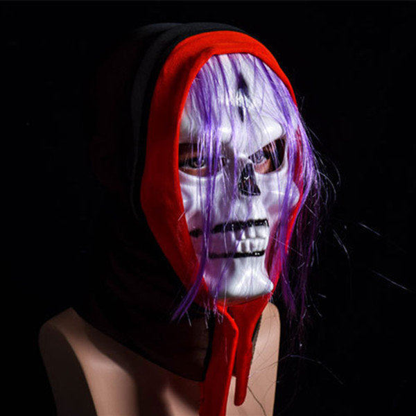 Halloween White Scary Grimace Mask With Wig Devil Masquerade Party Mask Festival Tools