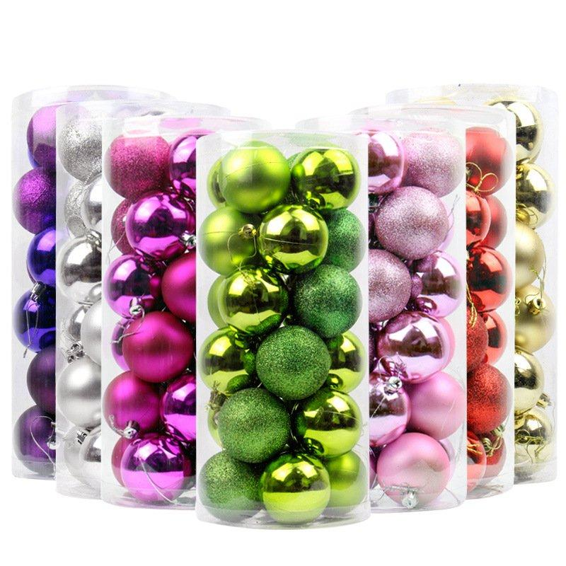 4-8cm Christmas Balls Ornaments Shatterproof Christmas Decorations Tree Hanging Balls
