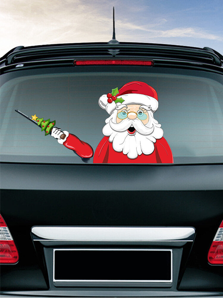 Santa Claus Pattern Car Window Stickers Wiper Sticker Removable Christmas Stickers