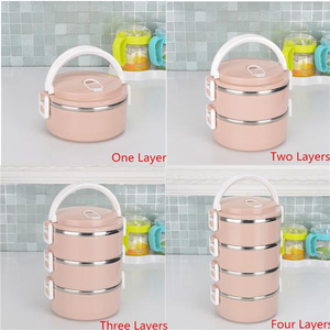 1/2/3/4 Layers Stainless Steel Thermal Insulated Lunch Box Bento Food Storage Container Maccaron