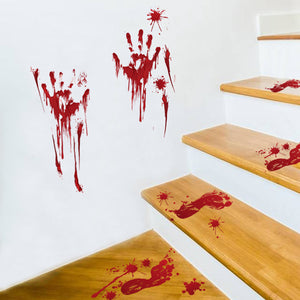 Blood Fingerprint Wall Sticker Halloween Scary Prop Red Terror Tool