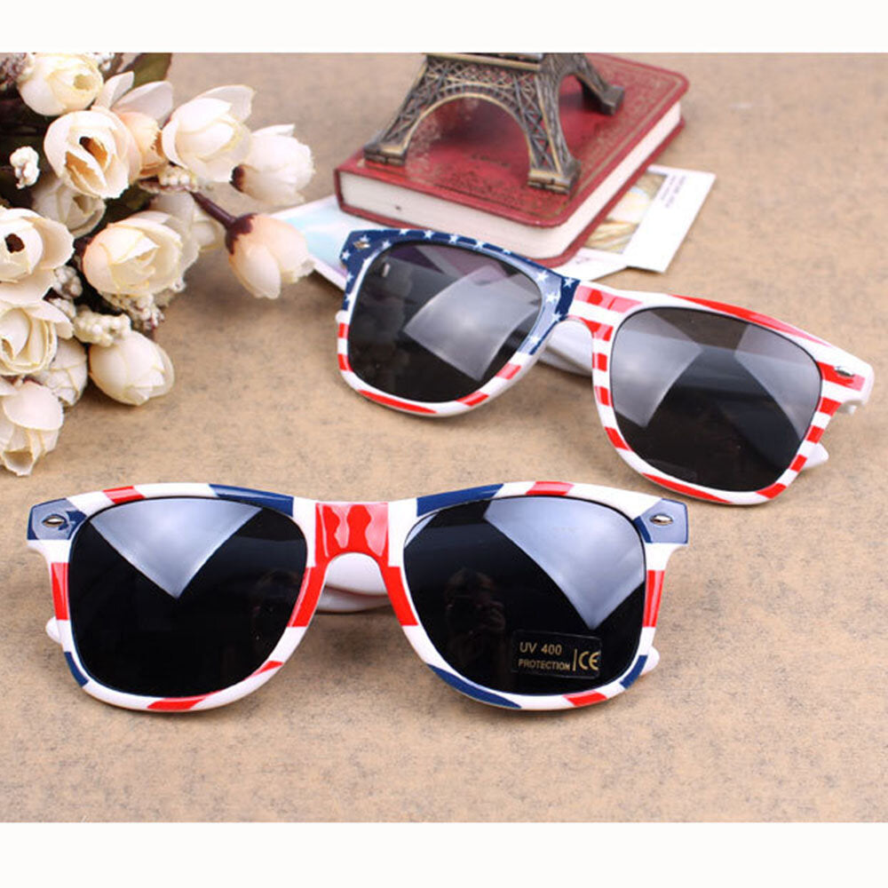 Shaderz Classical Eyewear Retro 80's American USA Flag 4th of July Frame Sunglasses