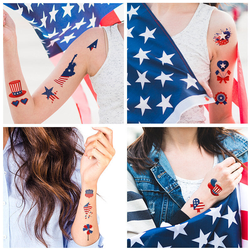 American Flag Tattoo Stickers Back Tie Knot Stockings Independence Day Party Props Waterproof Stickers