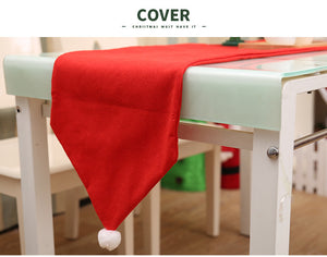 Plain Red Christmas Table Runner With  Santa hat style  - 1.76m