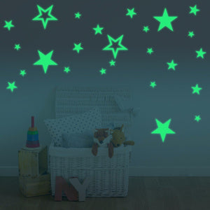 28PCS Fluorescent Glow Hollow Stars Wall Stickers Home Decor