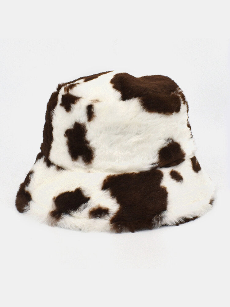 Women Wool Soft Warm Casual All-match Cute Cow Pattern Bucket Hat