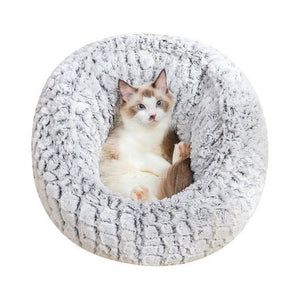 PV Long Plush Super Soft Pet Round Bed Kennel Dog Cat Comfortable Sleeping Cushion Adjustable