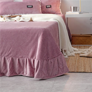 4Pcs Flannel Winter Bedding Set Queen King Size Solid Color Quilt Cover Bed Sheet Pillowcase