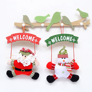 Christmas Door/Tree Hanging Painted Welcome Sign with hanging Satan Calaus or Snowman In Red, White & Green - 35cm