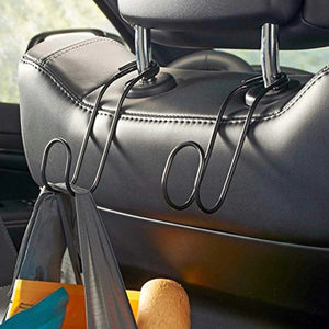 High Road Contour Car Hooks Metal Headrest Hangers - 2 PCS (Black)