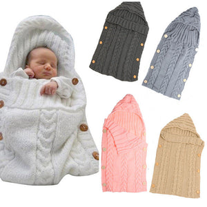 70*35cm Newborn Baby Sleeping Bag Winter Warm Wool Knitted Hoodie Swaddle Wrap Soft Infant Blanket