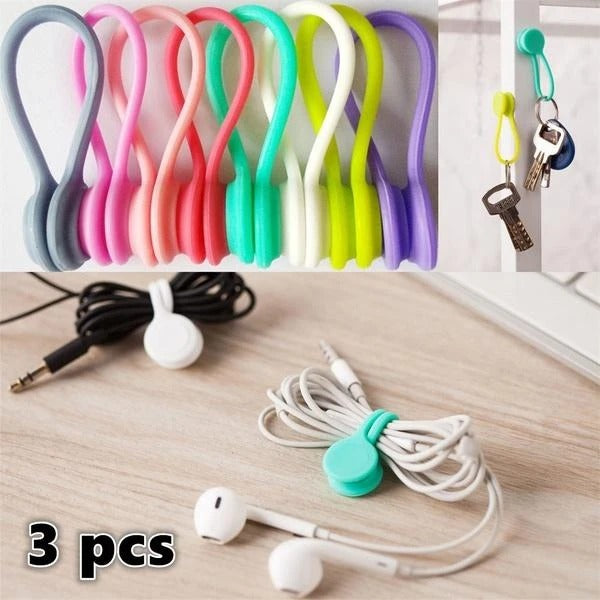 3pcs Earphone Cord Organizer Clips Multifunction Magnetic Earphone Cord Winder Holder Organizer Clips