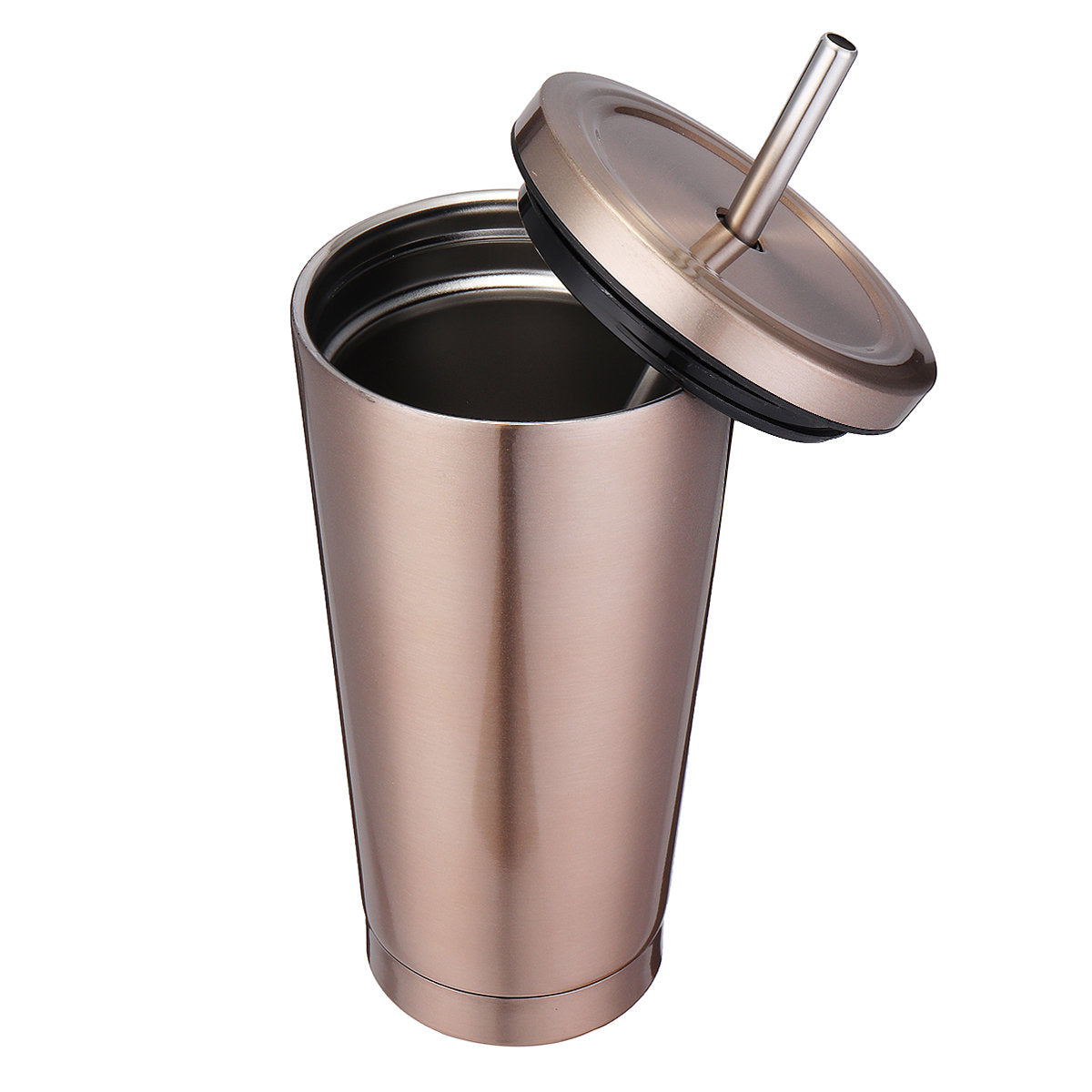 500ml Stainless Steel Mug Portable Home And Office Tumbler Coffee Ice Cup With Drinking Straw