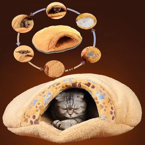 Soft Cat/Dog Kitten Cave Pet Bed House Sleeping Mat Pad Igloo Winter Warming Sleeping Bag Brown