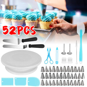 52-piece Set Cake Turntable 32 Pcs Piping Tips Set 2 Plastic Couplers