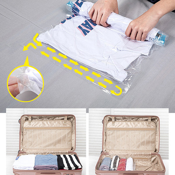 10 Pcs Hang Roll Vacuum Compression Clothes Storage Bag For House Travel