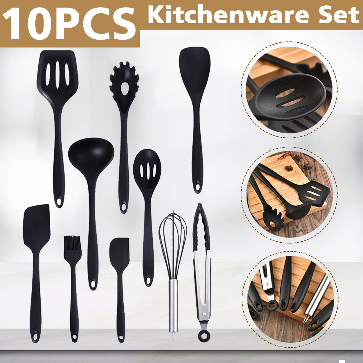 10PCS Silicone Non-Stick Cookware Pan Spoon Utensils Kitchenware Set Tableware Cooking Tools