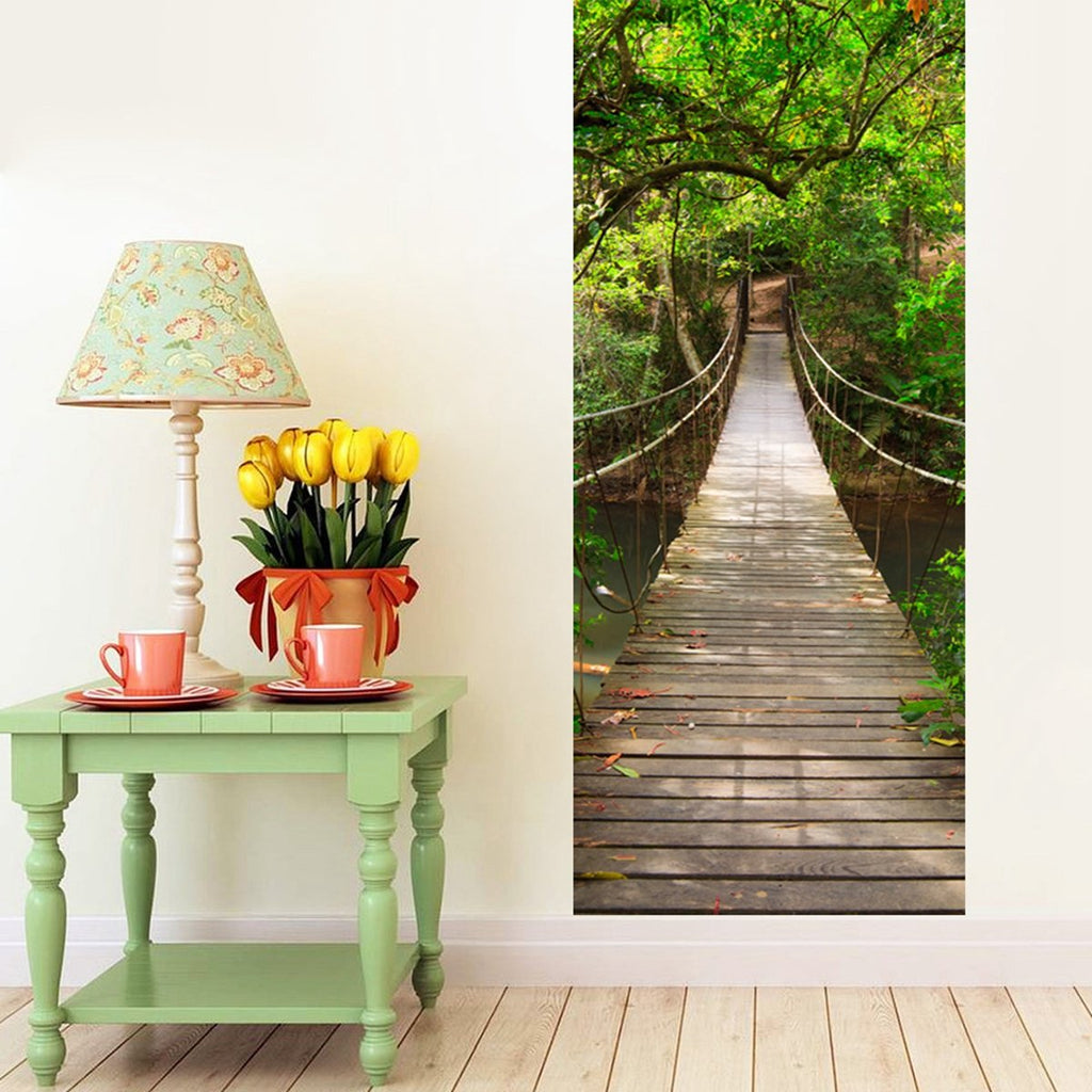 77x200cm DIY Mural Wood Bridge Waterproof Decal 3D Bedroom Home Decor Poster
