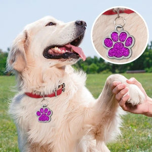 Personalized Paw Print Pet ID Tag - 6 Colors Available