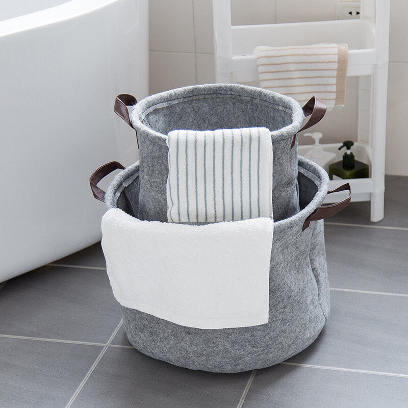 Felt Cloth Dirty Clothes Storage Basket Foldable Fabric Debris Storage Bag