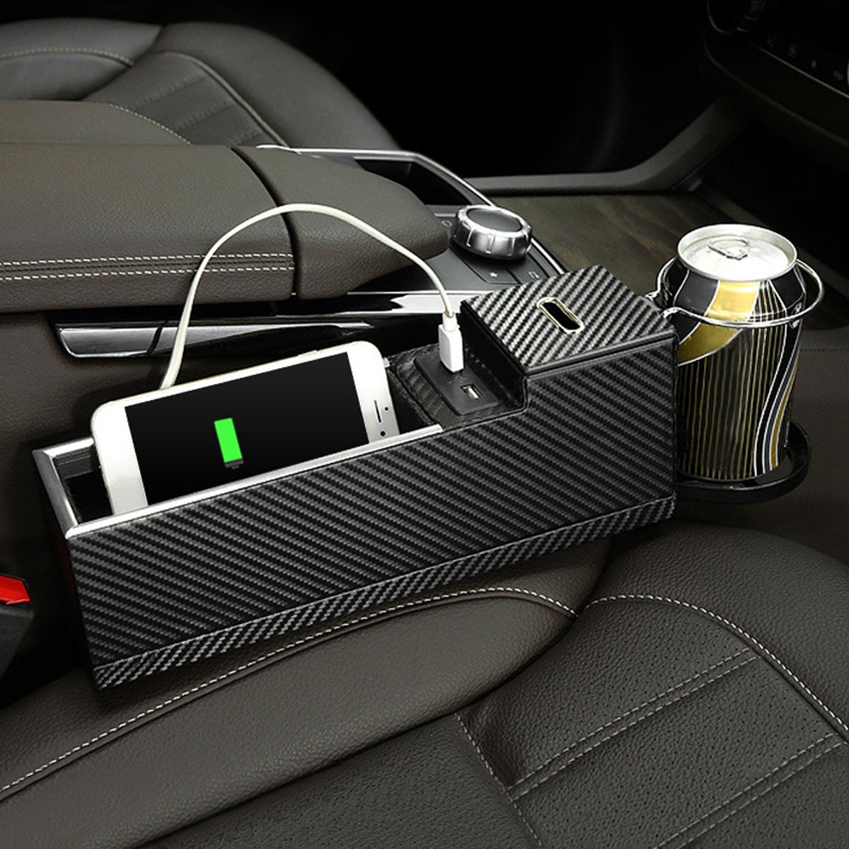 USB Charger Car Seat Crevice Storage Box Seat Gap Filler Organizer Cup Holder