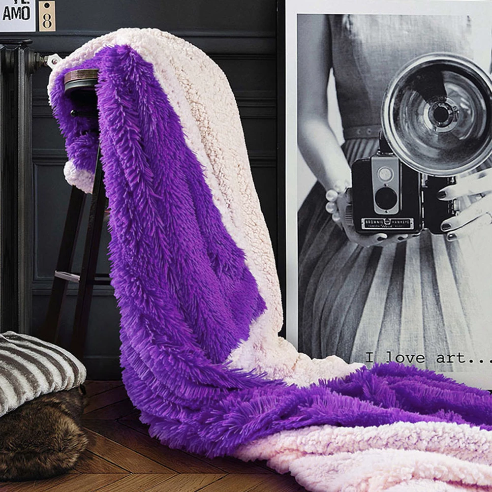 200cm AB Sided Long Plush Fleece Blanket Winter Thicken Warm Bedding Cover TV Blanket