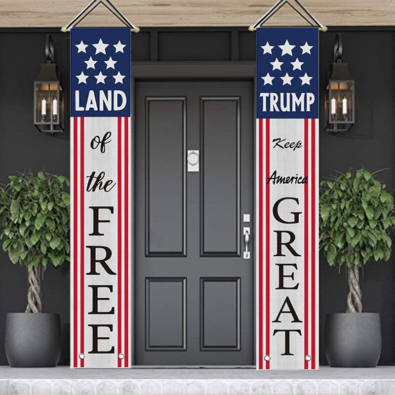 Avoin Donald Trump Decoration Patriotic Porch Sign Land of The Free Keep America Great President Election Hanging Banner Flag for Yard Indoor Outdoor Party 12 x 72 Inch