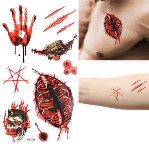 Halloween Props Tattoo Stickers Horror Fake Wound Realistic Blood Scars Scratches Stitch Pattern