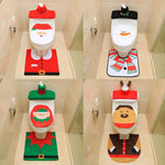 New Year Christmas Santa Toilet Seat Cover Rug Bathroom Set Christmas Decorations For Home