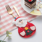 One Set Christmas Spoon Fork Knife Cutlery Bags Tableware Pockets Silverware Holder without Cutlery