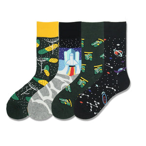 Autumn new European and American flowers; plants; fruits and fruits series couple socks; cotton; foreign trade source; men's and women's socks and stockings