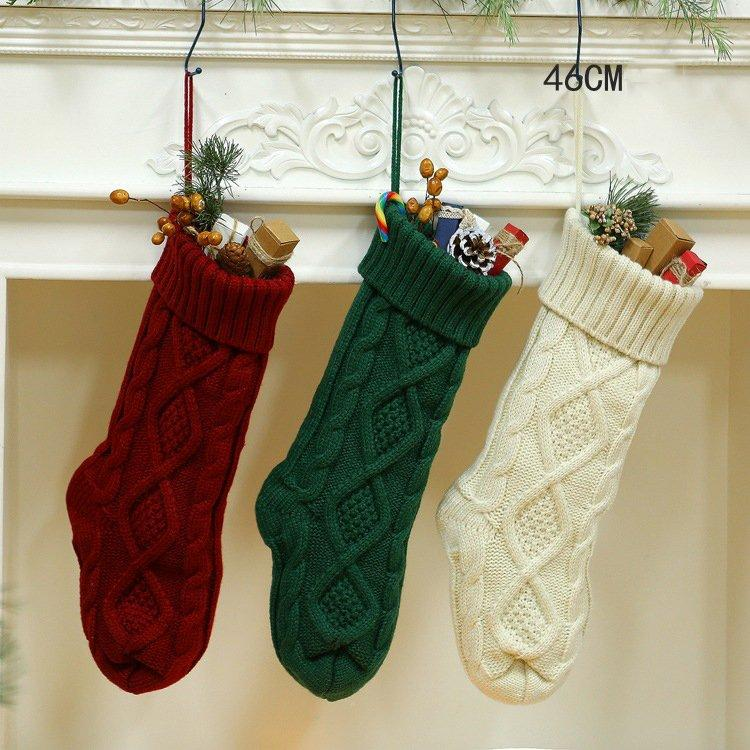 Knitting Wool Ornaments Gift Bag and Christmas Stocking Size 46 and Small Size 37