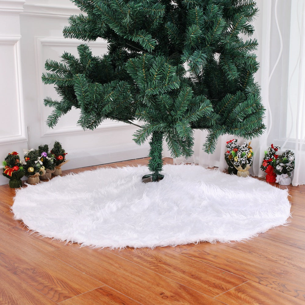 Christmas Plush Tree Skirt pure white long hair Christmas Tree Skirt 78 90 122cm Christmas tree decorative tree skirt