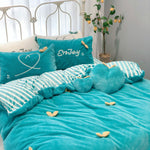 Velvet Warm Four-piece Three-dimensional Leaf Thick Embroidery Quilt Cover Small Fresh Double Crystal Velvet Sheets