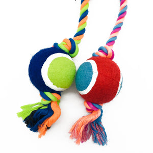 TWO Tennis Ball Rope Toy Spiral Dog Toy