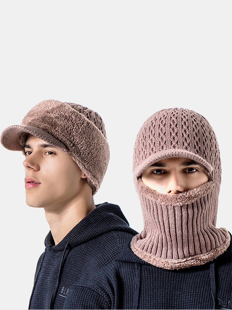 Men Wool One-piece Plus Velvet Thick Winter Keep Warm Neck Protection Windproof Knitted Hat