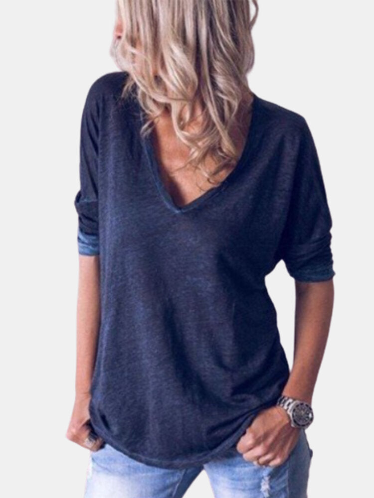 Solid Color Long Sleeve V-neck T-shirt For Women