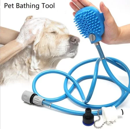 Pet Bathing Tool | Pet Shower Sprayer & Scrubber in-One, Shower Bath Tub & Outdoor Garden Hose Compatible, Dog Cat Horse Grooming