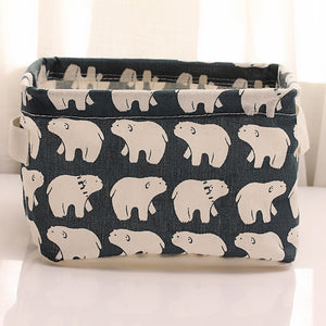 Storage Basket Cute Printing Waterproof Organizer Cotton Linen Sundries Storage Box Cabinet Underwear Storage Bag