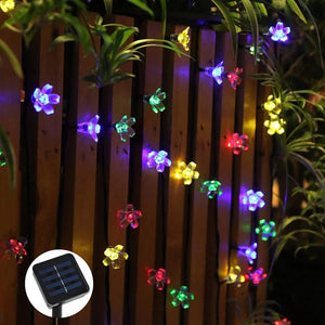 50 LED Waterproof Cherry Blossom Solar Flower String Lights for Indoor/Outdoor Garden Xmas Festivals Decorations