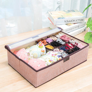 6 Colors Large Capacity Linen Storage Box Basket Clothes Bras Storage Bag