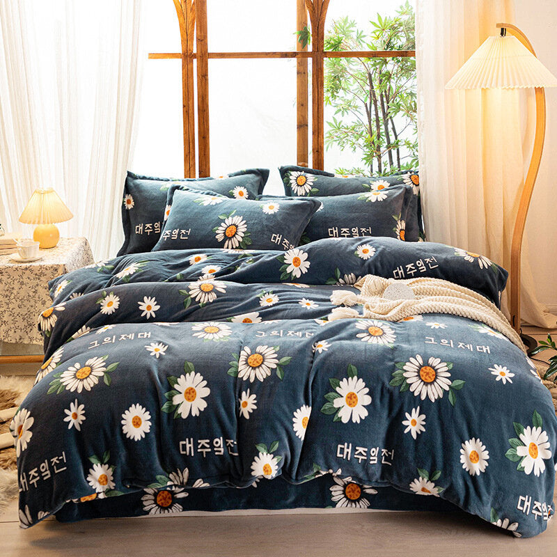 Milk Velvet Four-piece Warmth Winter Thick Coral Velvet Double-sided Velvet Bed Sheet Quilt Cover