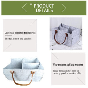 Foldable Felt Storage Bag Portable Lightly Multifunction Changeable Compartments