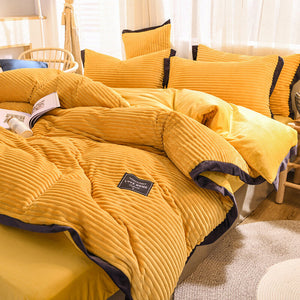 Pure Color Magic Velvet Four-piece Set Crystal Velvet Nordic Style Thickened Simple 4 Pcs Set Double-sided Velvet Bed Sheet