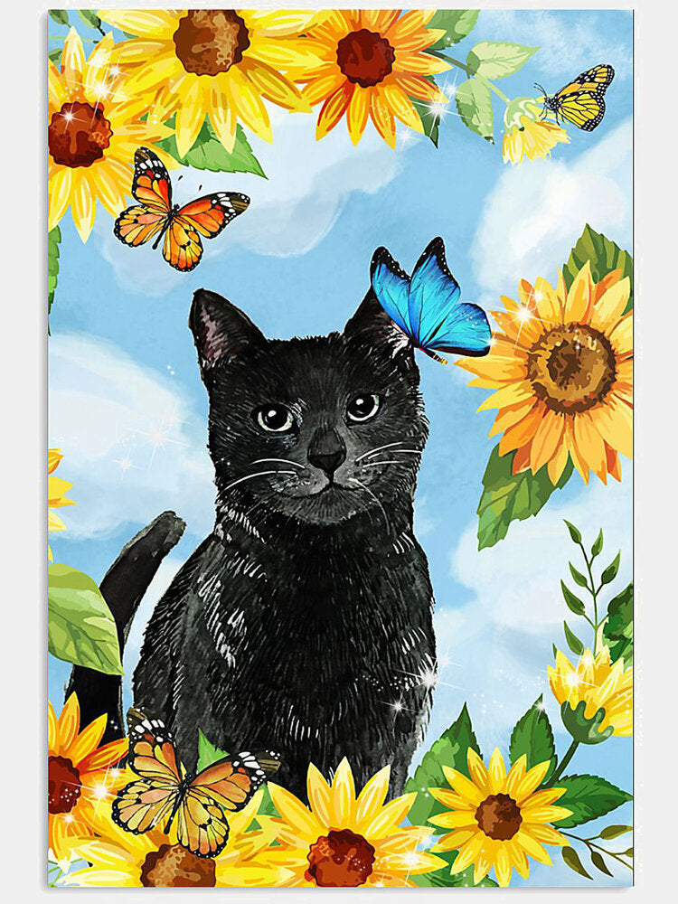 Black Cat And Sunflower Pattern Canvas Painting Unframed Wall Art Canvas Living Room Home Decor