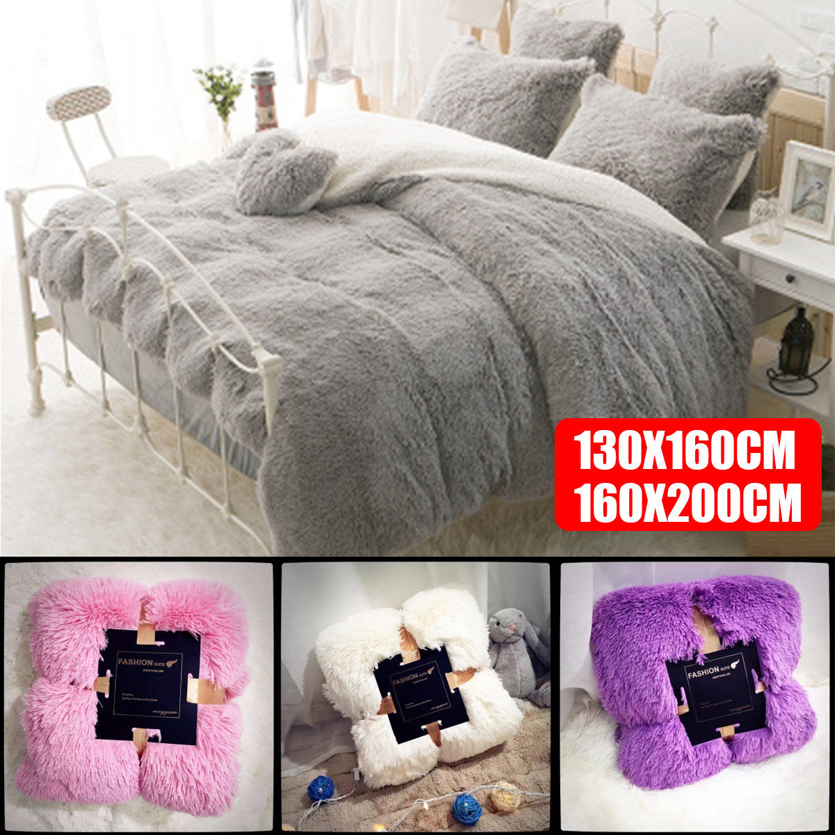 200cm Long Plush Ultra Soft Warm Sofa Cover Bed Cover Set Kids Teens Throw Blanket Reversible Bedspread