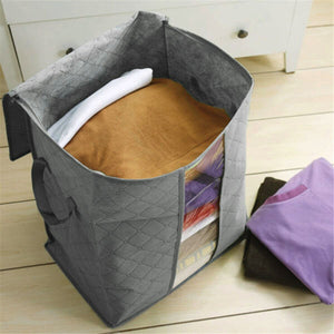 Foldable Bamboo Charcoal Storage Bins Clothes Blanket Closet Organizer Bag Case