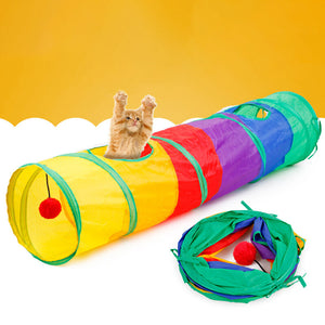 Folding Cat Channel Roll Dragon Puzzle Pet Toy Rainbow Cat Tunnel